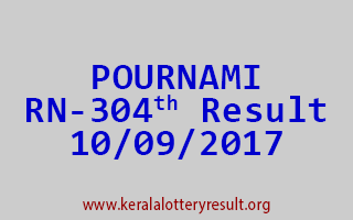 POURNAMI Lottery RN 304 Results 10-9-2017