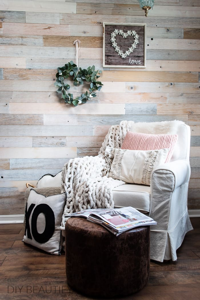 cozy reading corner with wood wall, Valentines decor and chunky chenille throw