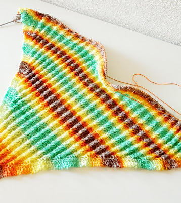 Colorful Alize yarn shawl with cables