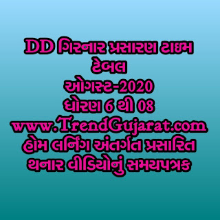 Home Learning DD Girnar August month time Table std 6 to 8
