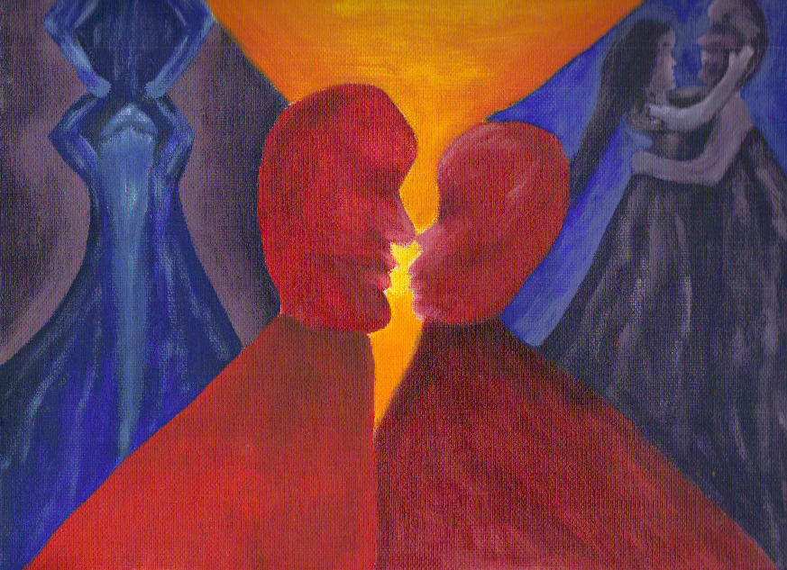 99d779e6629ab4 It's a broken heart, or is it two people about to kiss? And the male side  is thinking about some sort of blow job penis worship while the woman is  thinking ...