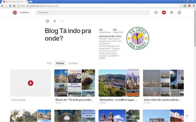 Pinterest do blog Tá indo pra onde?