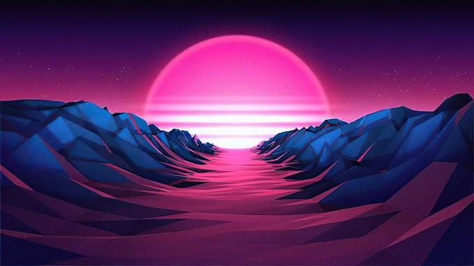 Retro, Vaporwave, Sol, Montanha