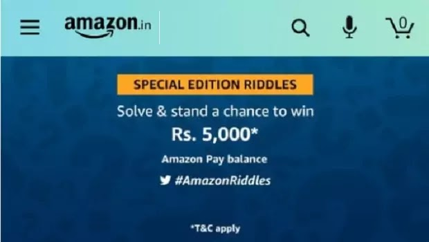Amazon Special Edition Riddles Quiz Answers win Rs.  5000 Amazon Pay Balance