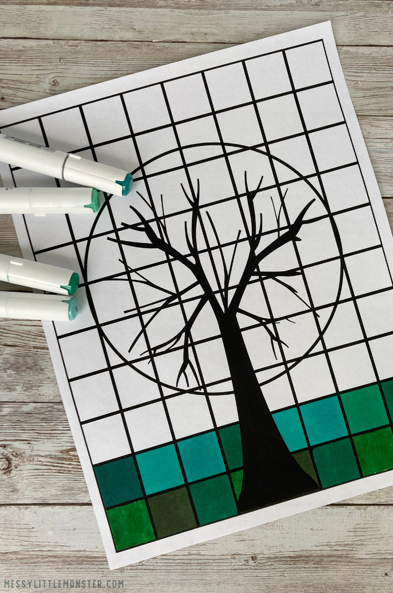 warm and cool colors in art printable tree grid