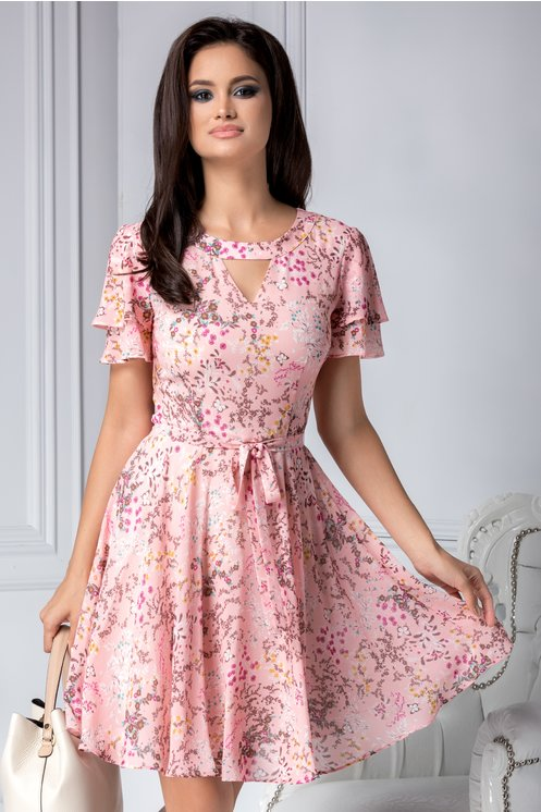 Rochie roz vaporoasa de vara cu imprimeu floral cu fluturi