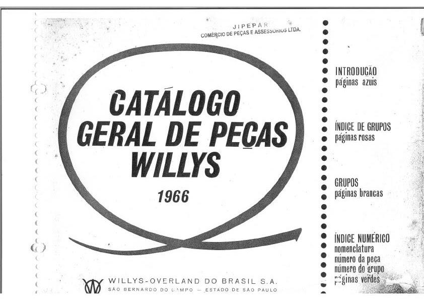 manuais do propriet u00c1rio  cat u00c1logo de pe u00c7as willys 1966