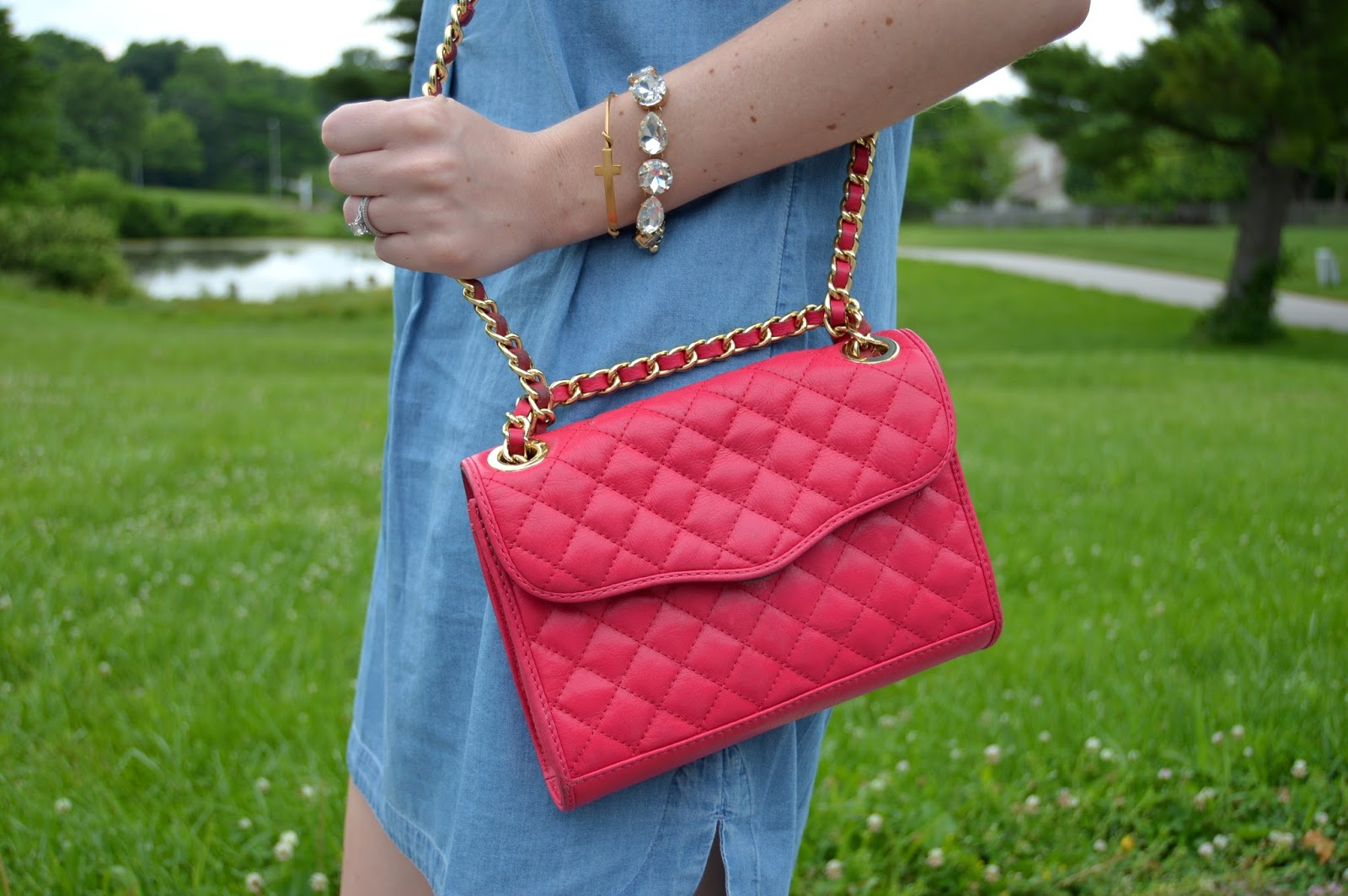 hot pink crossbody  | pink rebecca minkoff purse | a memory of us  | gold cross bracelet