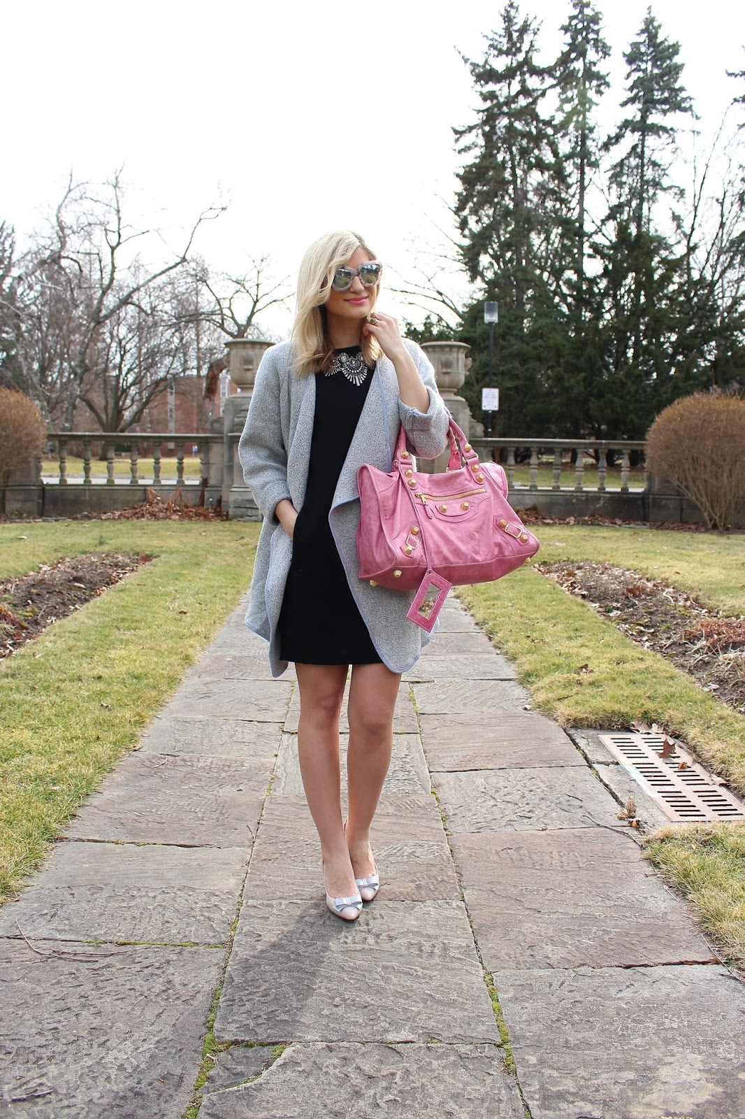 bijuleni- grey cardi and balenciaga purse
