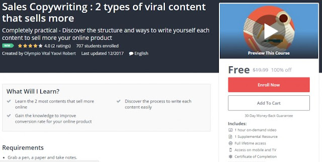 [100% Off] Sales Copywriting : 2 types of viral content that sells more Worth 19,99$
