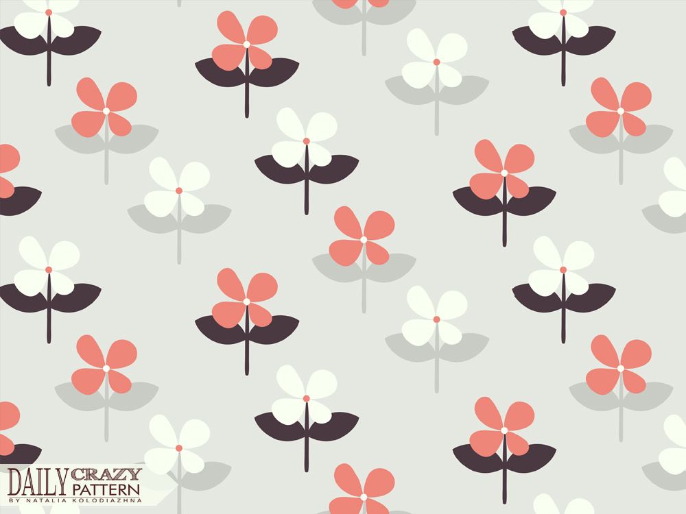 "Retro print with fancy flowers for ""Daily Crazy Pattern"" project"