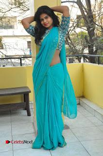 Telugu Actress Alekhya Stills in Green Saree at Swachh Hyderabad Cricket Press Meet  0079.JPG