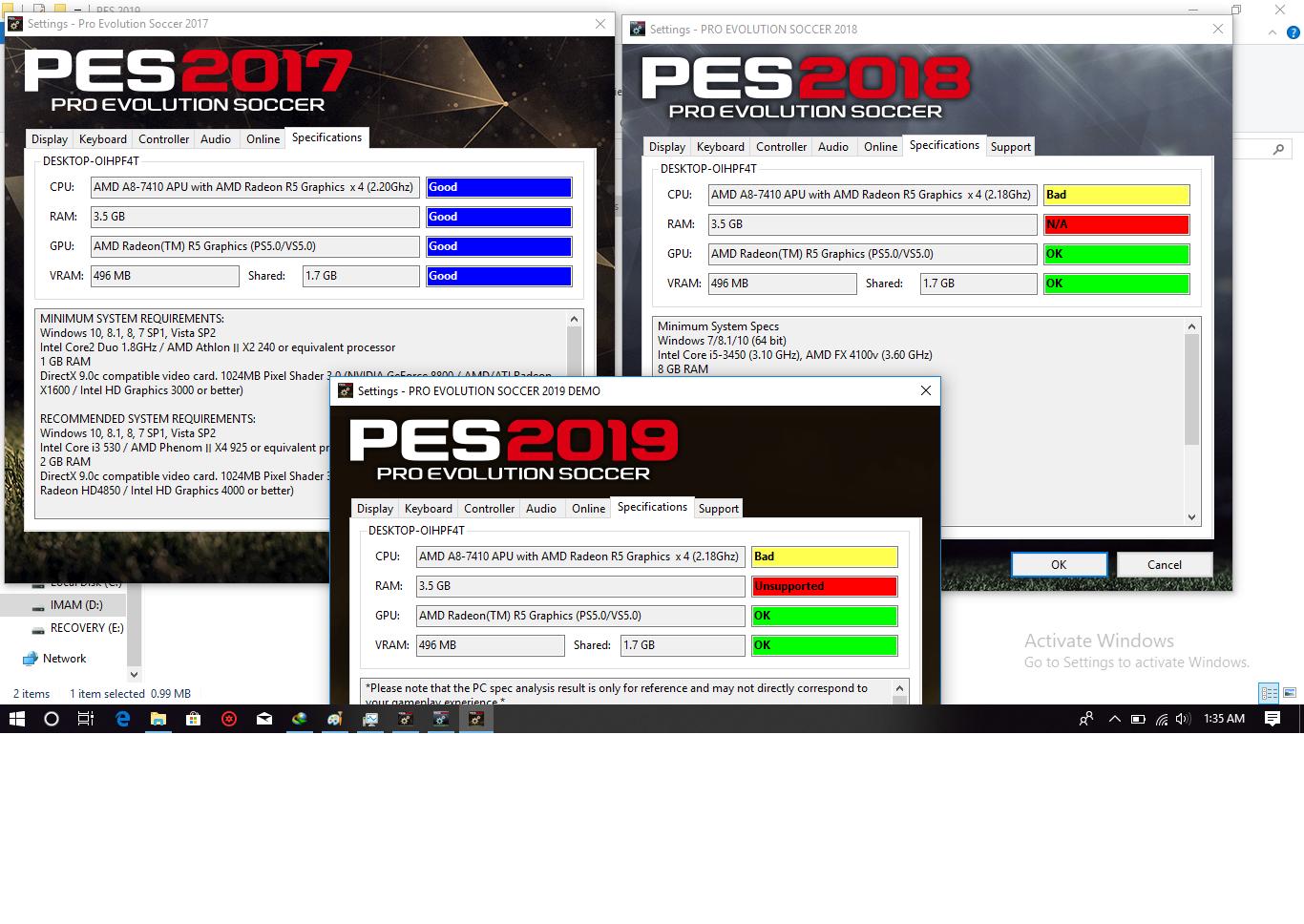Pro Evolution Soccer: pes 2019 graphics settings pc