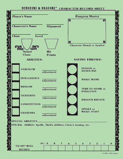 Old school D&D Basic character sheet