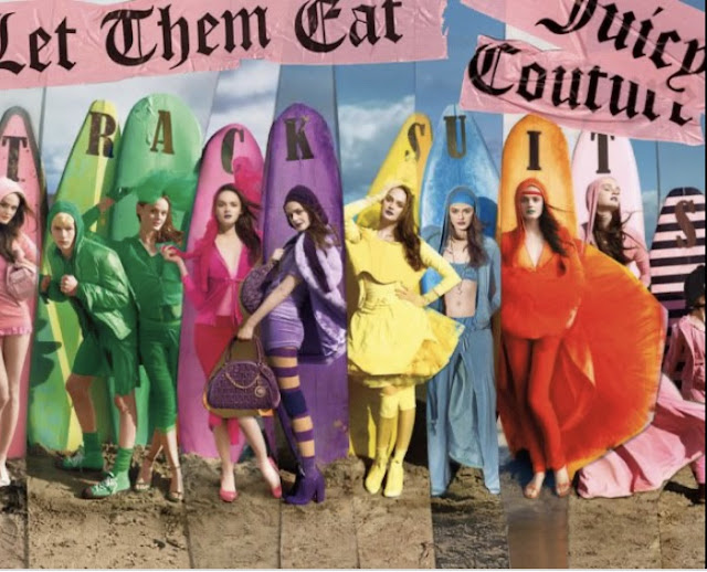 Juicy Couture tracksuits with surfboards on beach. Let them eat couture.