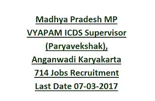 Madhya Pradesh MP VYAPAM ICDS Supervisor (Paryavekshak), Anganwadi Karyakarta Supervisor 714 Govt Jobs Recruitment Exam 2017 Last Date 07-03-2017