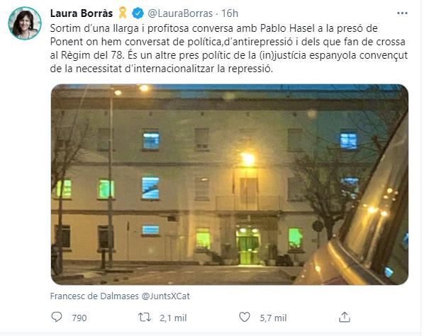 """Laura Borràs (JxCat) visita a Hasel en la cárcel: """"Es otro preso político"""""""