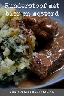 Lekker recept voor runderstoofvlees met bier en mosterd.