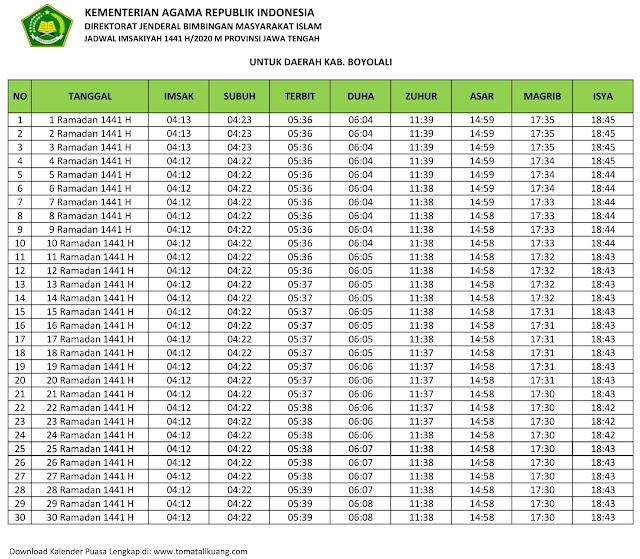 jadwal imsak waktu buka puasa kabupaten Boyolali 2020 m ramadhan 1441 h tomatalikuang.com