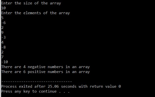 C Program To Count Number Of Positive And Negative Number