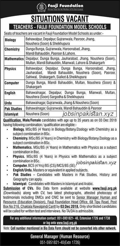 Advertisement for Fauji Foundation Model Schools Jobs November 2018