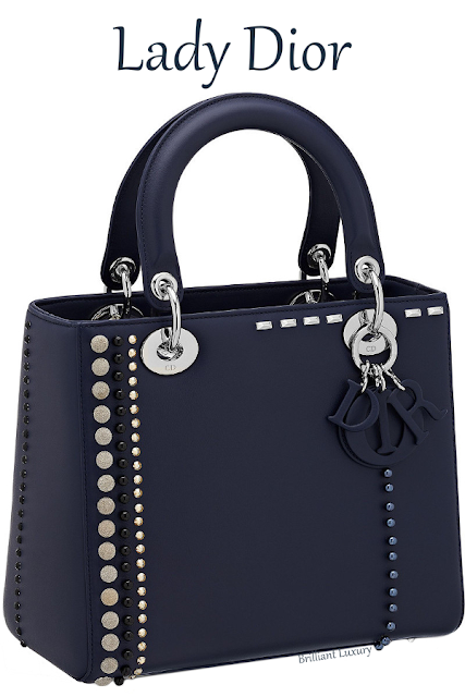 Blue Lady Dior calfskin bag studded with beads and rhinestones #brilliantluxury