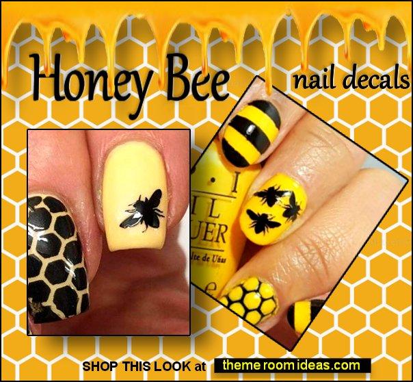 honey bee vinyl nail decals bumblebee nail decals  honey nail art bee nail designs