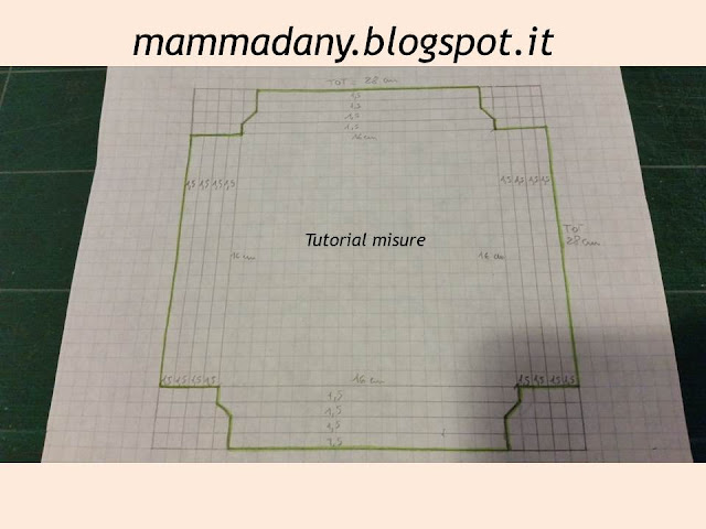 Schema di piega e taglio per shadow box per Prima Comunione