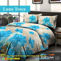 Sprei Custom Katun Lokal Dewasa Luna Tosca Bunga Floral Putih Biru