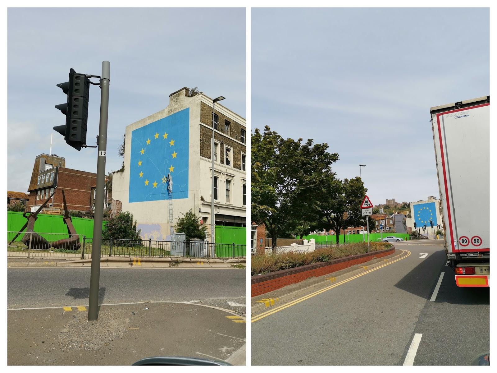 Europa ich sehe den Brexit nicht mehr.  Banksy Mural am Dover Port verschwunden