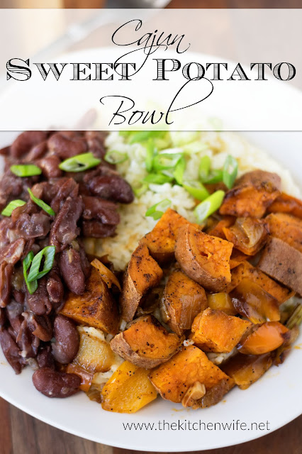 The finished sweet potato bowl in a white bowl with the title written above.