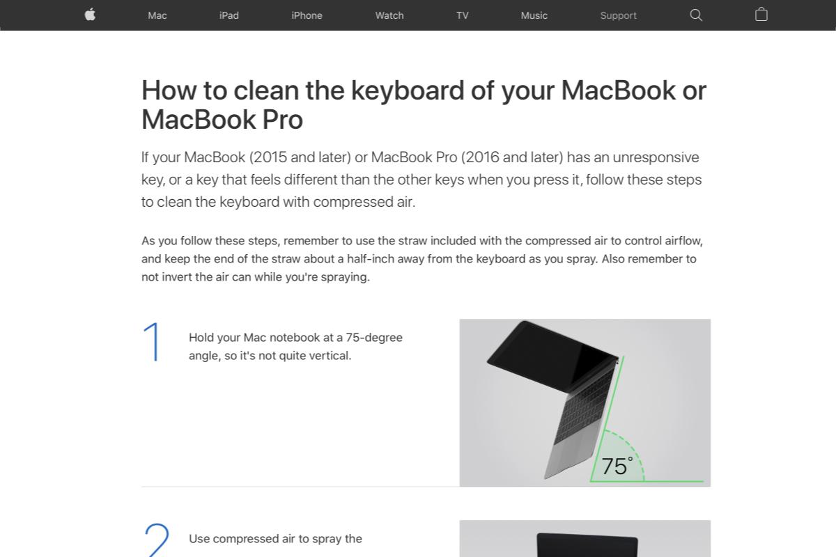 Come pulire i tasti del MacBook