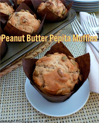 Peanut Butter Pepita Muffins, peanut butter flavored muffins with a hint of honey and the crunch of pepitas. | Recipe developed by www.BakingInATornado.com | #recipe #bake