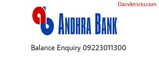 Andhra  bank balance enquiry number list hindi