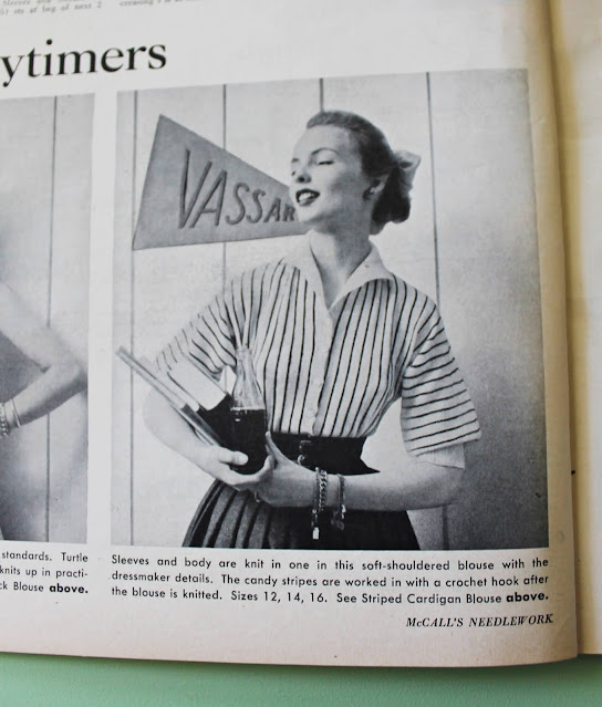 free 1950s stripe college girl cardigan knitting pattern