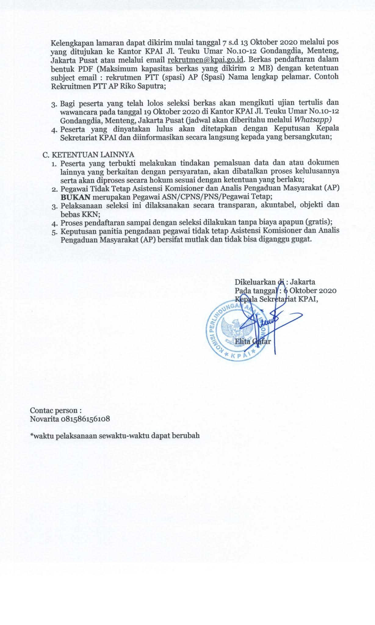 Lowongan Kerja Pegawai PTT Komisi Perlindungan Anak Indonesia Bulan Oktober 2020