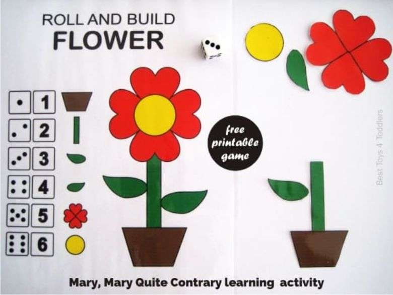 printable games for kids - Roll and build a flower game