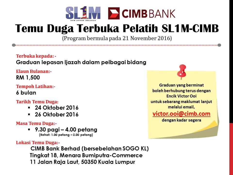 Peluang Kerjaya Bersama CIMB Untuk Graduan