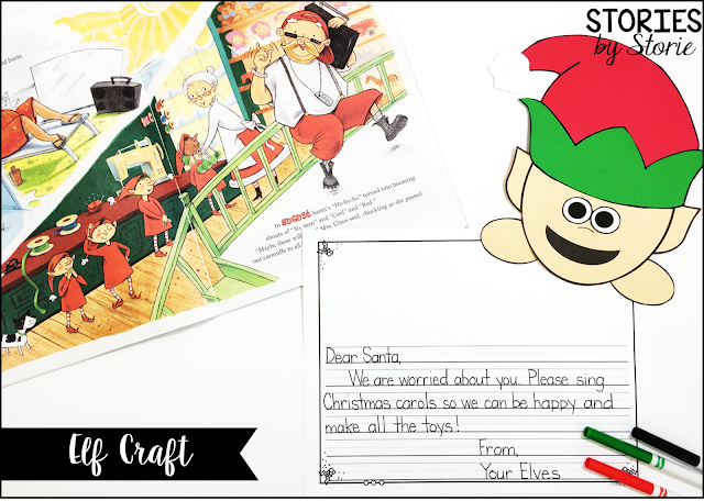 After reading A New Improved Santa, students can pretend they are the reindeer and elves and brainstorm all of the things they love about Santa. Then students can compare how Santa was acting in the story. After writing a letter, students can add either an elf craft or reindeer craft to their letters.