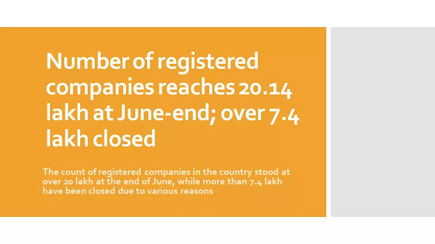 Number of registered companies reaches 20.14 lakh at June-end