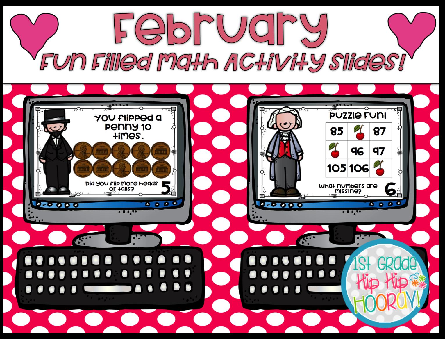 1st Grade Hip Hip Hooray February Fun Filled Math