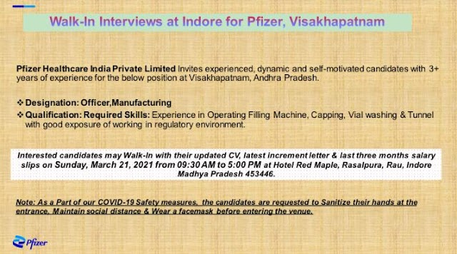 Pfizer Pharma   Walk-In interview for Production on 21st Mar 2021
