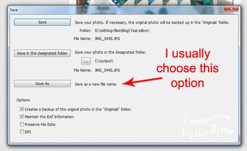 Photoscape Save Options