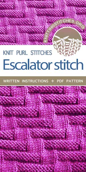 #KnittingStitches -- Free stitch pattern. The Art of  Knit - purl combinations, knit Escalator Stitch. This pattern is easy to follow and made a very pretty dishcloth. #knitting #knittingpattern