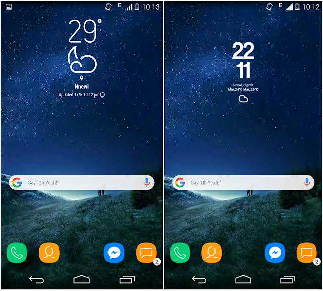get S8 weather and clock widget with search bar