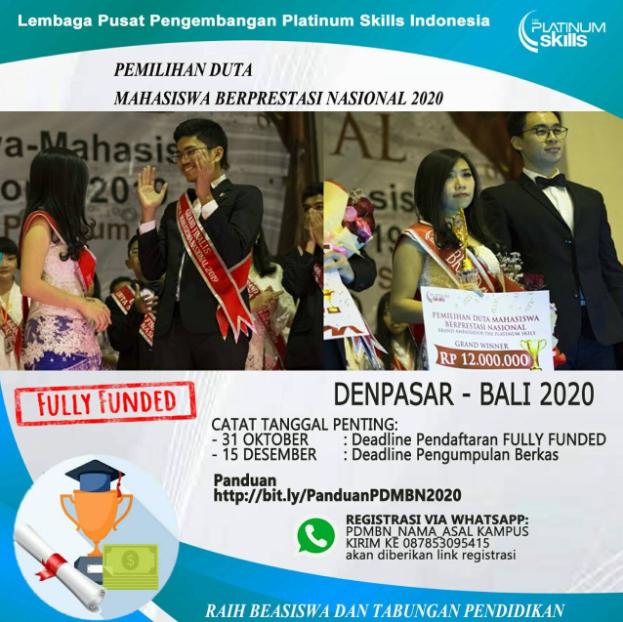Dibuka!, Pemilihan Duta Mahasiswa Beprestasi Nasional (PDSBN) 2020