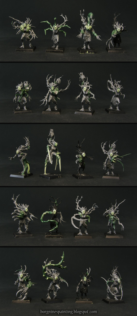 Closeups of 20 singular models of converted Sylvaneth Dryads for AoS