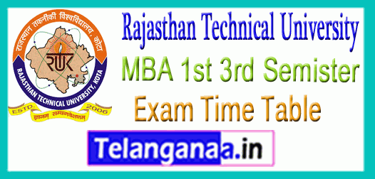 RTU Rajasthan Technical University MBA 1st 3rd Semister Exam Time Table