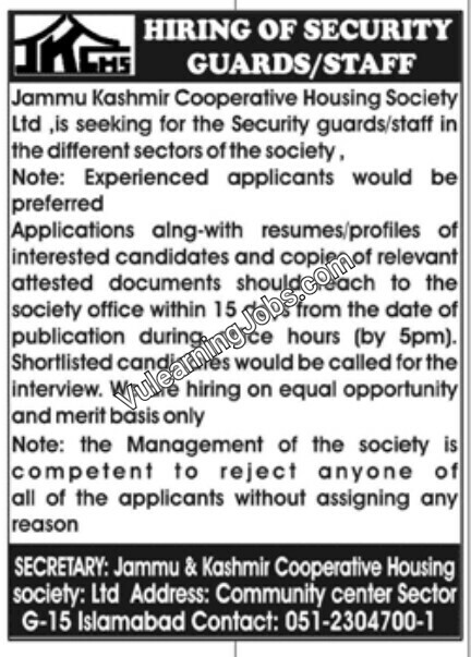Jammu Kashmir Cooperative Housing Society Jobs September 2019 For Security Guard Latest