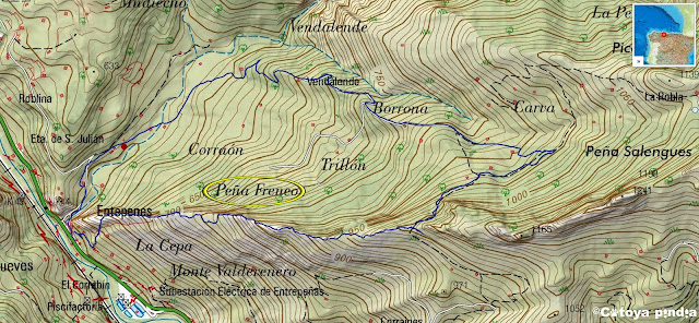 Mapa IGN con la ruta señalizada a Peña Freneo desde Entrepeñas en Aller.